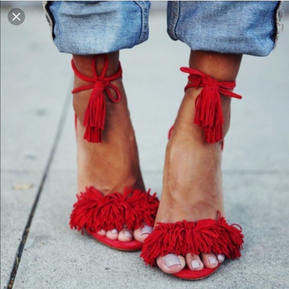 37995592469 Red open toe fringe heels 🚫 Sorry no holds